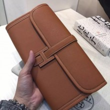 Hand Stitching Hermes 2H Camel Color Swift Leather Jige Elan Wallet Long Purse