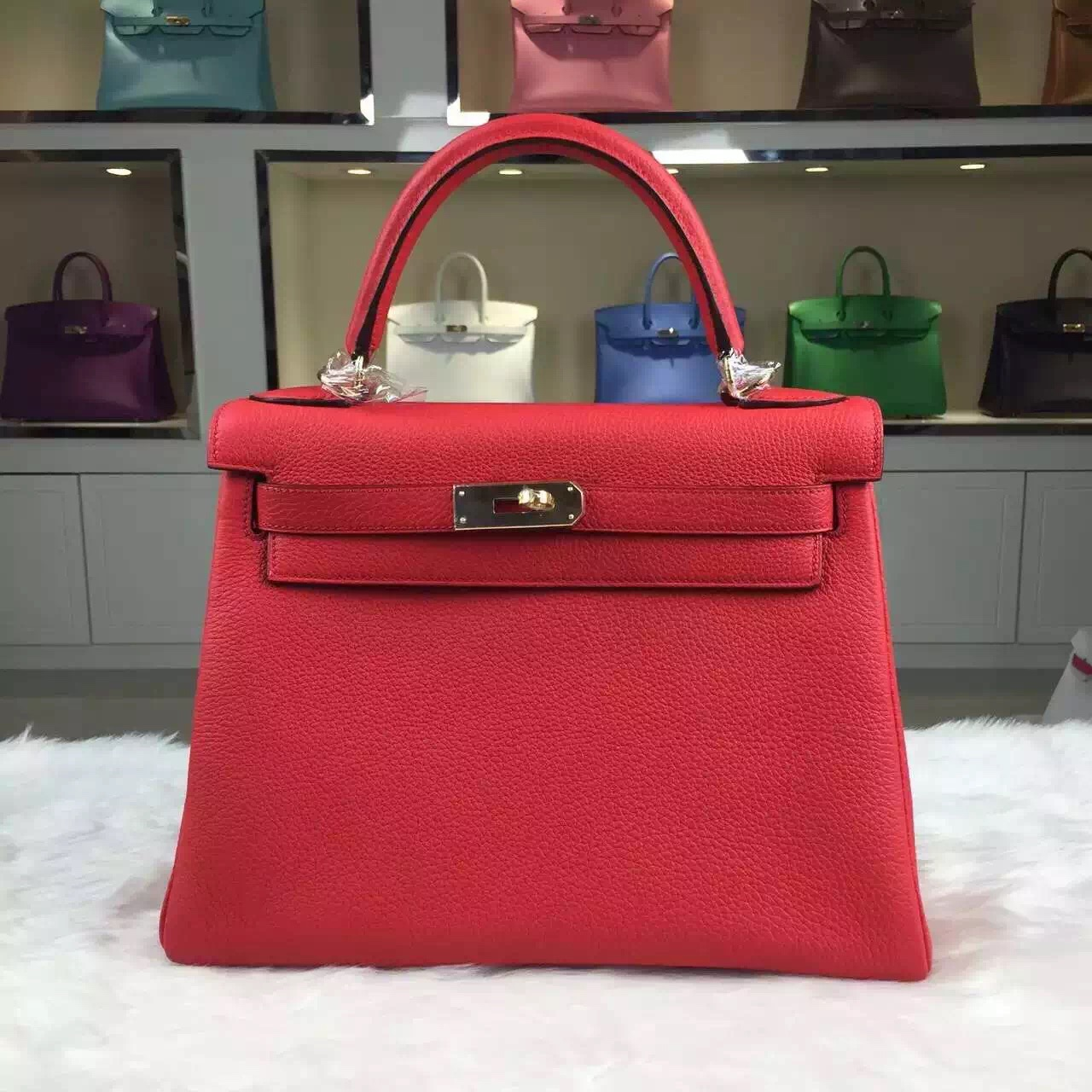 Vip Customized Hermes Togo Leather Kelly 28CM in Peony Red Gold ...