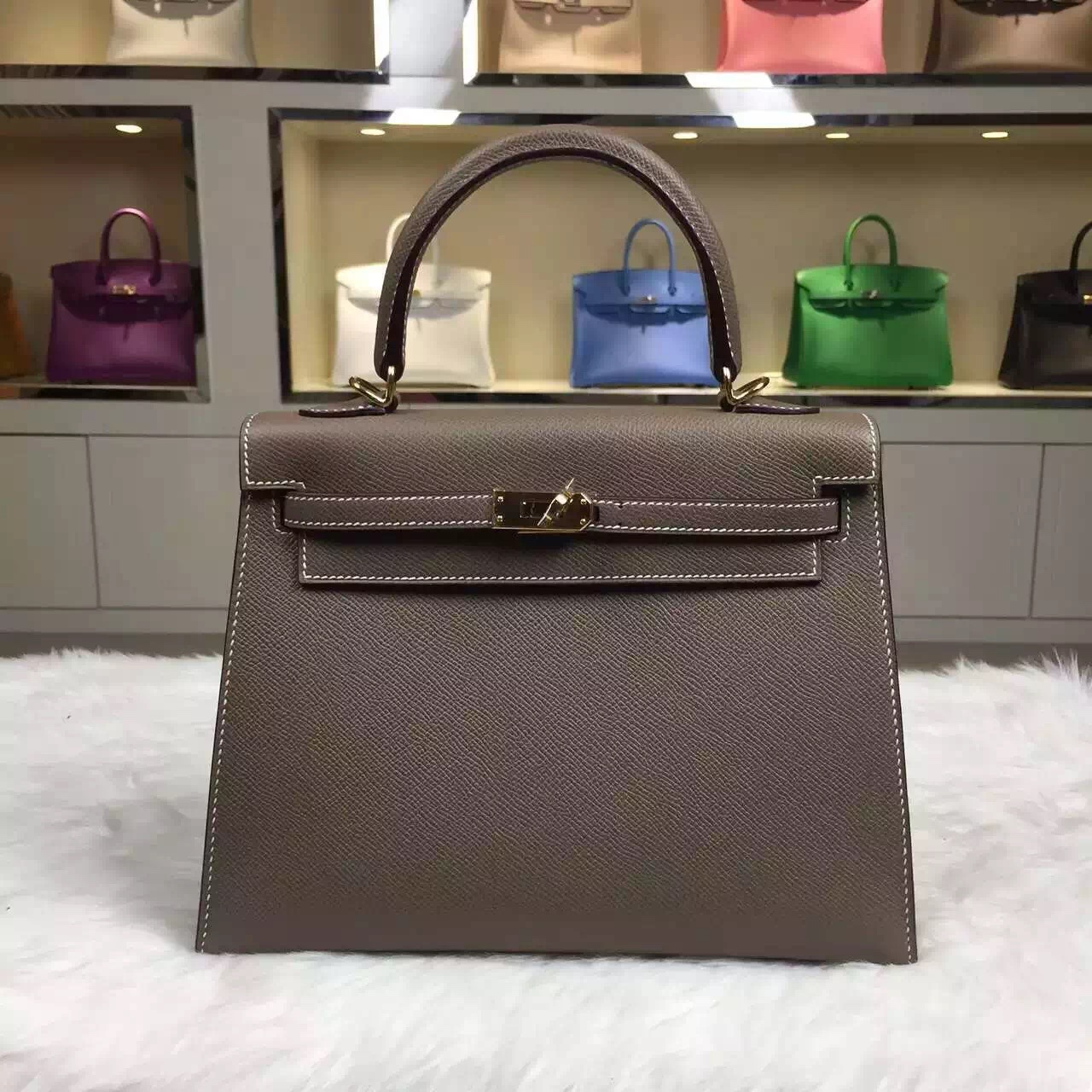 hermes canvas tote bag - Hand Stitching Hermes Kelly Bag 25CM C81 Etoupe Grey Epsom Leather ...