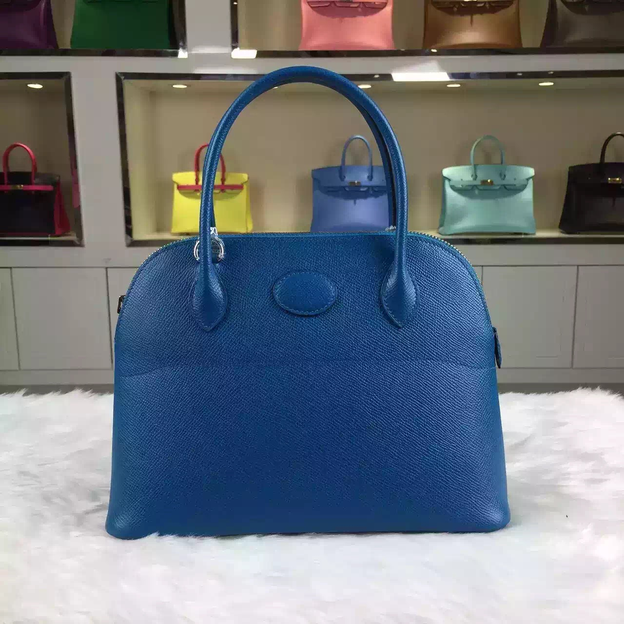 Wholesale Hermes 7W Blue Izmir France Epsom Leather Bolide Bag ...