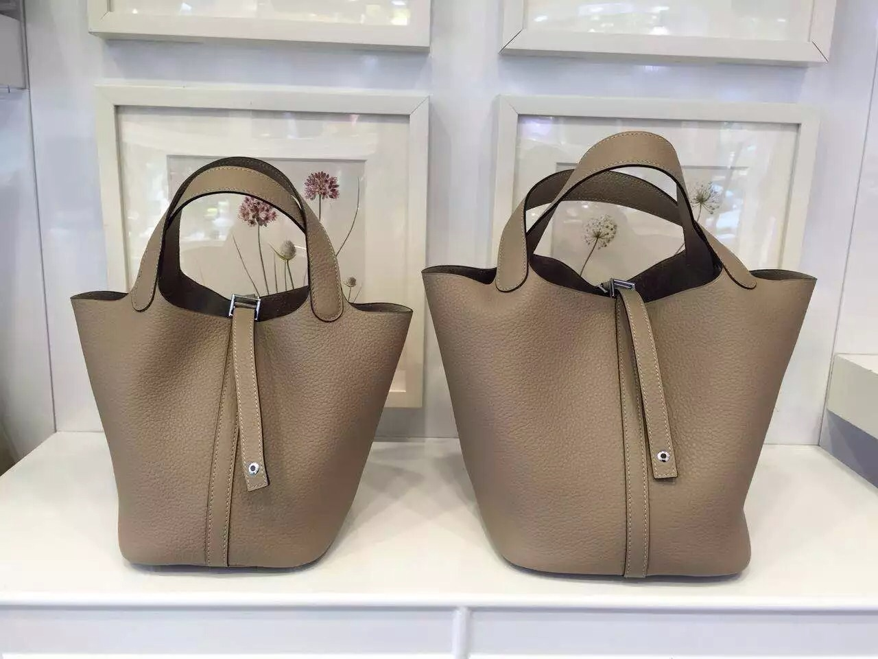 New Fashion Women\u0026#39;s Bag Hermes Picotin Lock Gris Tourterelle ...