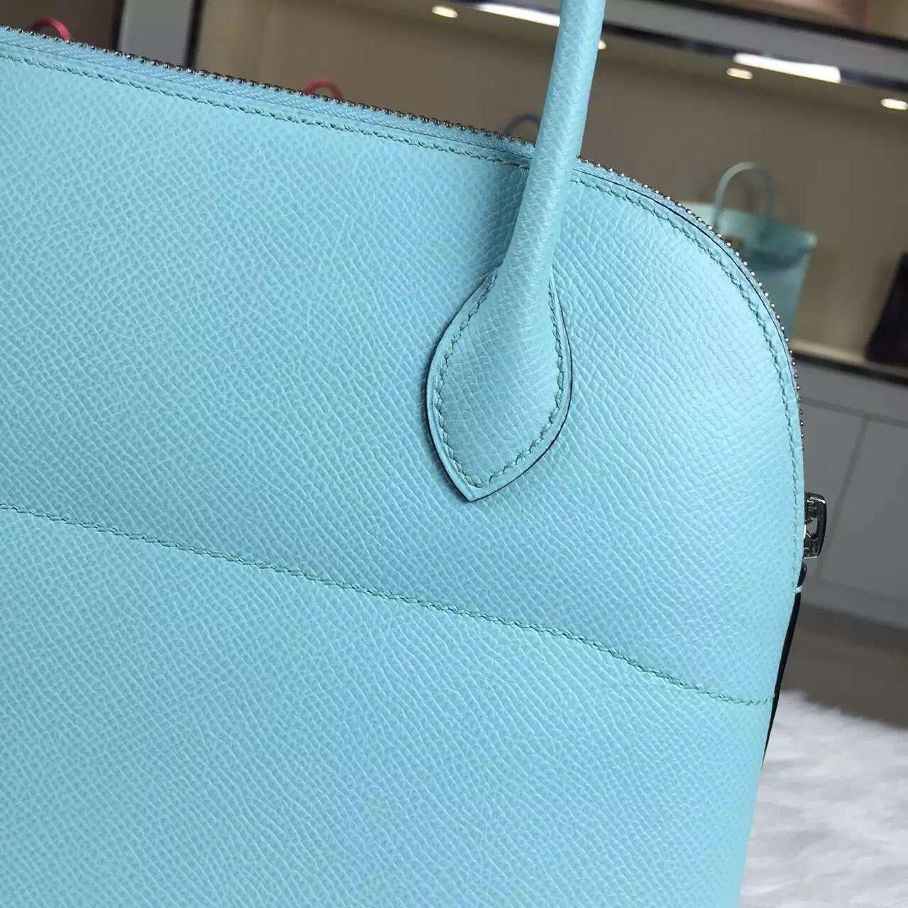 Luxury Hermes 3P Lagon Blue France Epsom Calfskin Leather Bolide ...