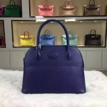 Hand Stitching Hermes 7K Blue Saphir Original Epsom Leather Bolide Bag 27CM