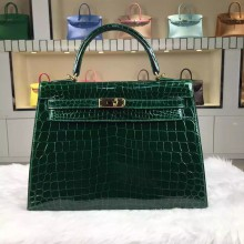 Custom-made Hermes CK67 Vert Fonce HCP Shiny Crocodile Leather Kelly Bag32CM