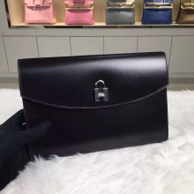 New Fashion Hermes Black Box Calfskin Lock Clutch Bag Gold & Silver Hardware