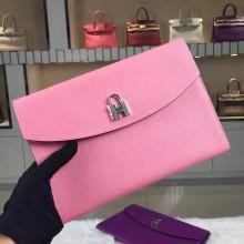 Discount Hermes Lock Clutch Handbag Multi-color Epsom Leather Silver Hardware