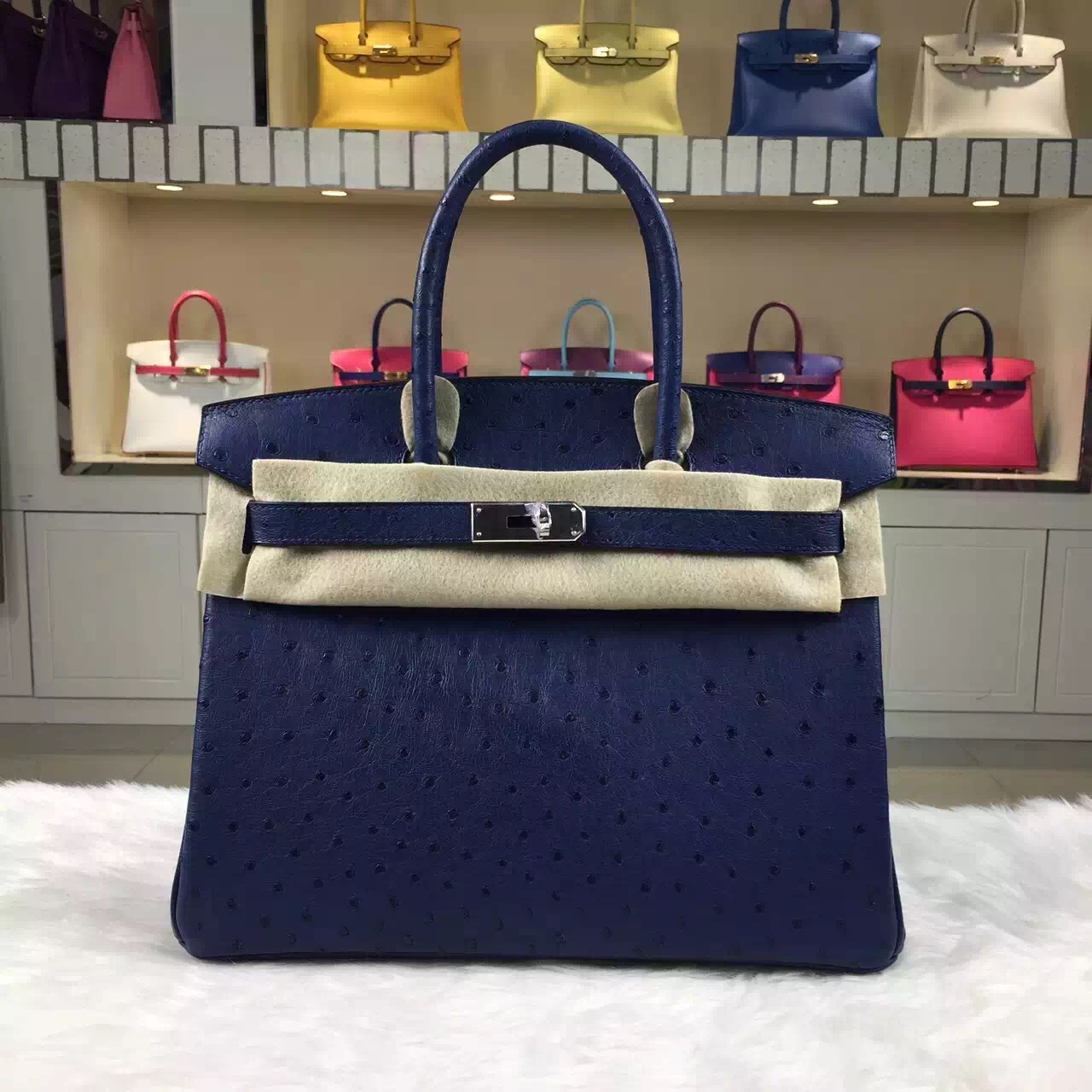 authentic hermes bag - Sale Hermes Birkin Bag30cm Blue Saphir Original Ostrich Leather �� HEMA