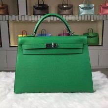Hot Sale Hermes 1K Bamboo Green Epsom Calfskin Leather Kelly Bag32CM