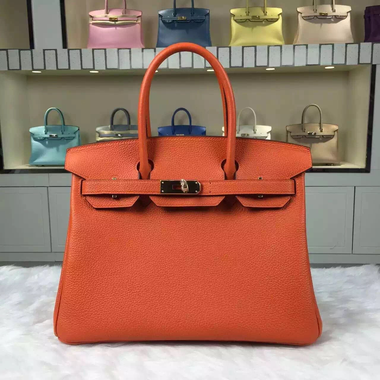 herme birkin - Q5 Candy Red Togo Leather Hermes Birkin30 Gold/Silver Hardware �� HEMA