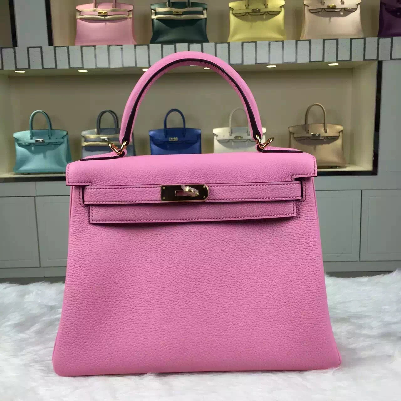 e7df2490aa83 Wholesale Hermes Kelly Bag28CM 5P Rose Sakura Togo Calfskin Leather