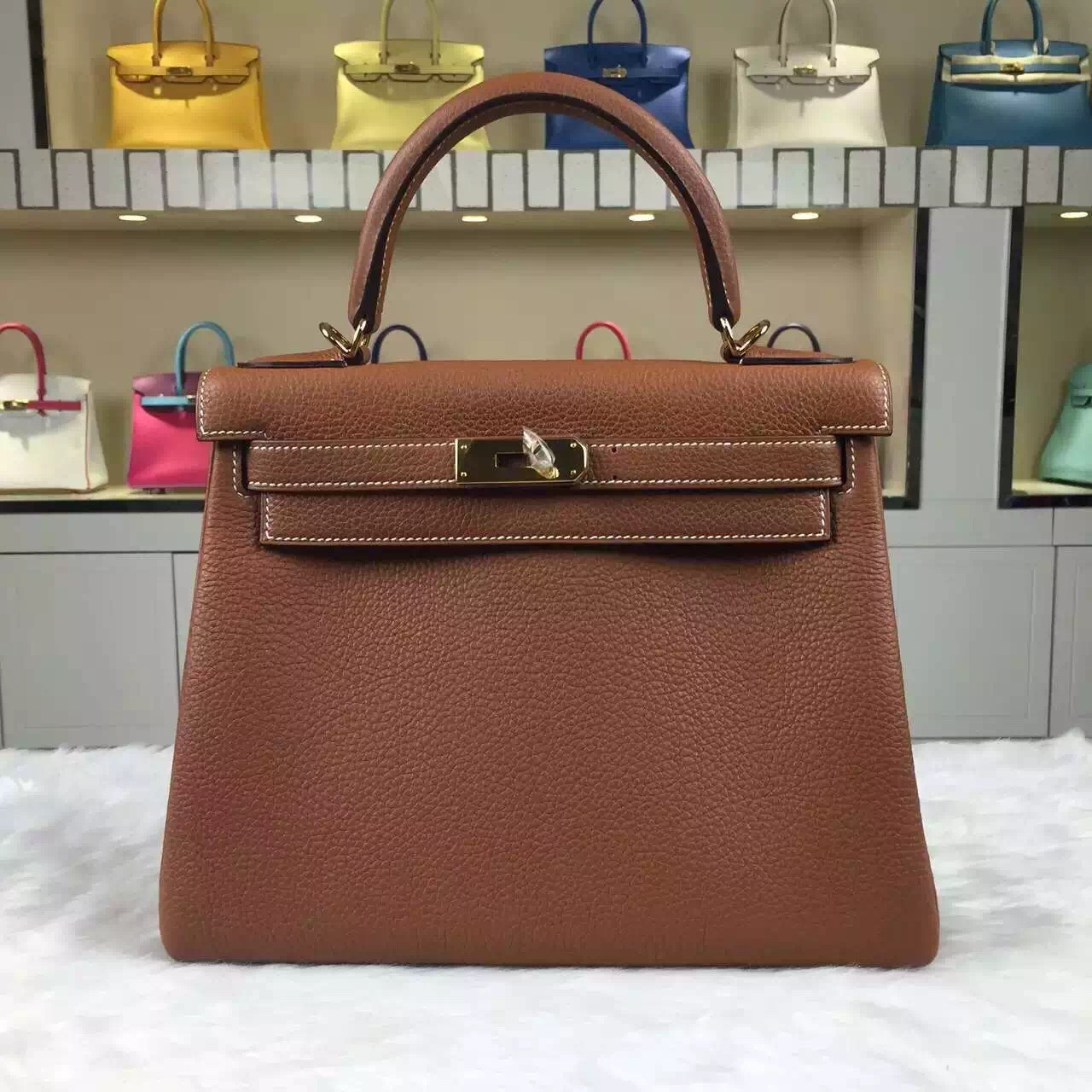 e2e9e34be454 On Sale Hermes CK37 Gold Kelly28 Togo Calfskin Leather Tote Bag