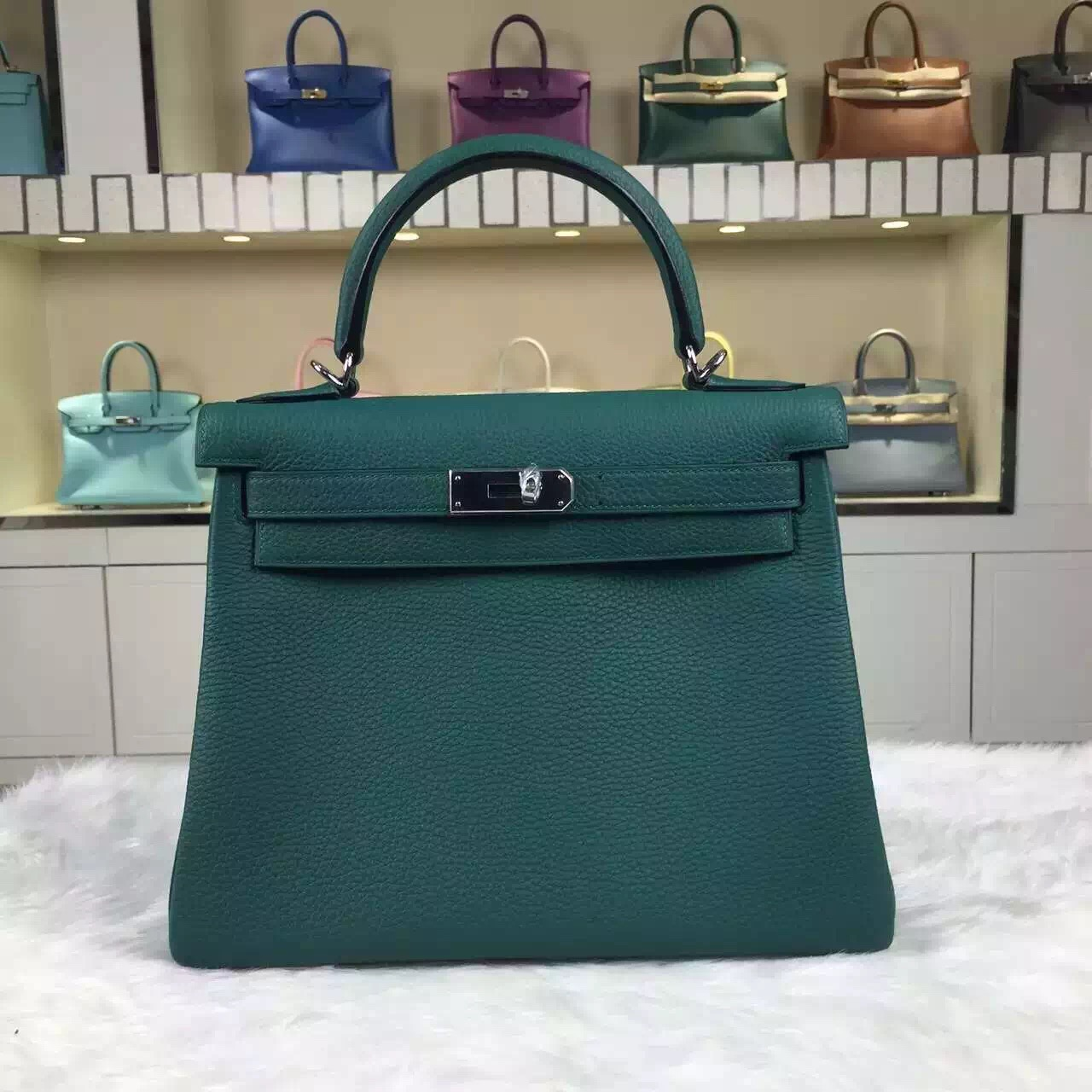 218bbe9bef5e Luxury Women s Bag Hermes Z6 Malachite Green Kelly Bag 28CM Togo ...