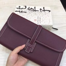 Hand Stitching Hermes 57 Bordeaux Swift Leather Jige Elan Clutch Bag
