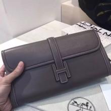 Fashion Hermes 8C Etoupe Grey Jige Wallet Women's Clutch Bag