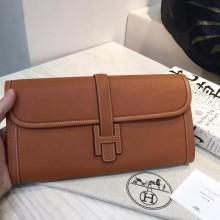 Wholesale Hermes Jige Elan Wallet 2H Camel Color Swift Leather