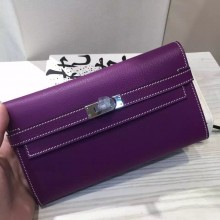 Hand Stitching Hermes Kelly Wallet France Epsom Leather in Purple