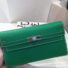 Discount Hermes Epsom Leather Bamboo Green Kelly Wallet Clutch Handbag