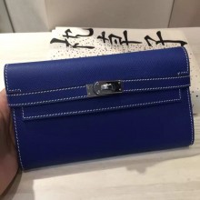 Wholesale Hermes Kelly Wallet Blue Electric Epsom Leather Clutch