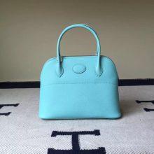 Hot Sale Hermes 3P Lagon Blue Epsom Leather Bolide Tote Bag 27cm