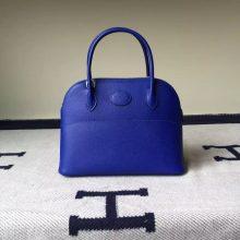 New Hermes Bag Epsom Leather Bolide Bag in 7T Blue Electric