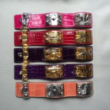 New Fashion Hermes Multi-color Crocodile Leather CDC Women's Bracelet