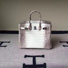 Cheap Hermes Himalaya Crocodile Leather Birkin Bag 25cm