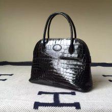 New Fashion Hermes Bolide Bag27cm Black Crocodile Shiny leather