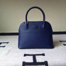 Discount Hermes Bag 7K Dark Blue Epsom Leather Bolide Bag 27cm