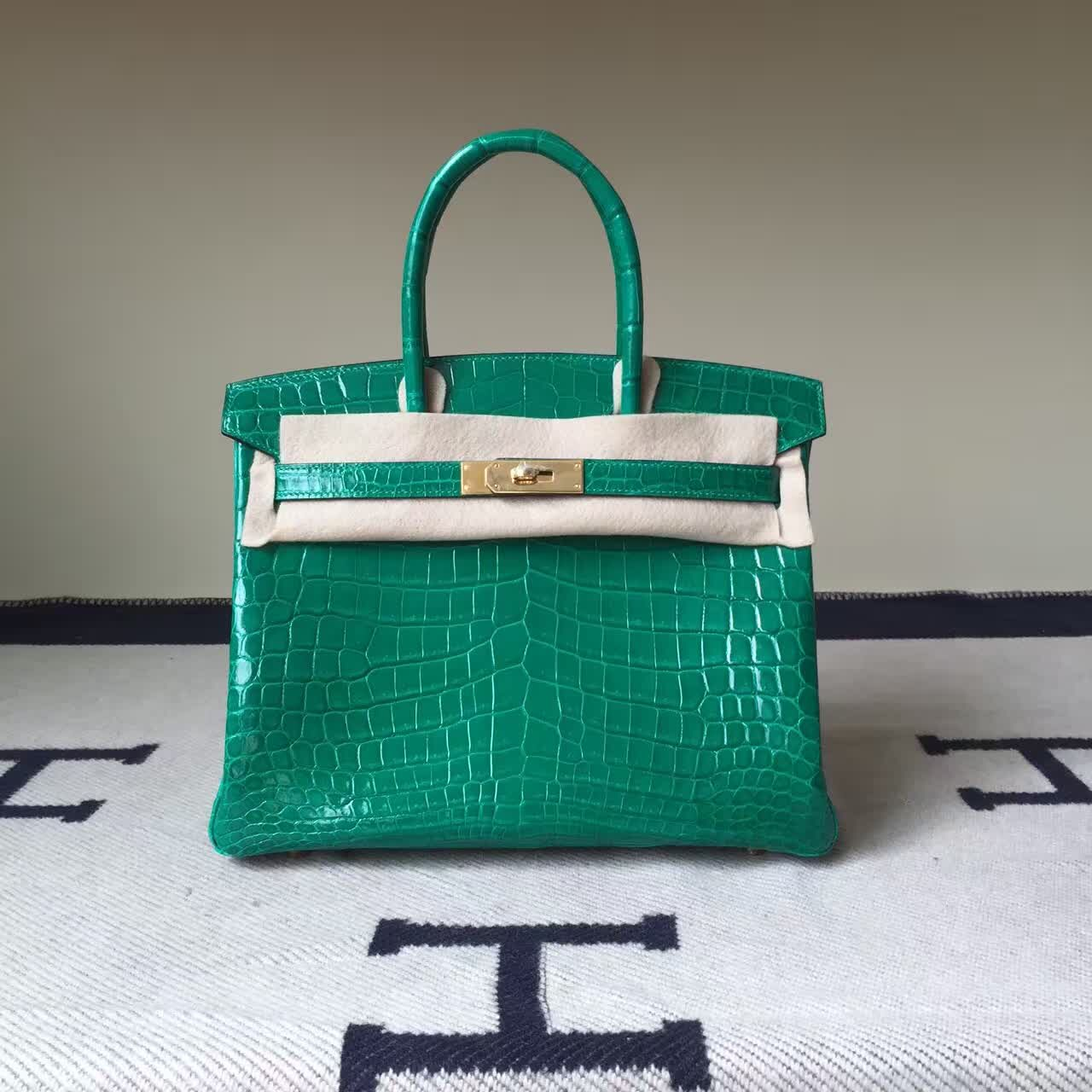 264579b1fe8b Discount Hermes Birkin Bag 30cm 6Q Emerald Green Shiny Crocodile Leather