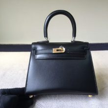 New Fashion Hermes Calf Box Leather Kelly Bag 20CM in CK89 Black