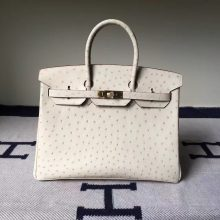 Hand Stitching Hermes 3C Wool White Ostrich Leather Birkin Bag35cm