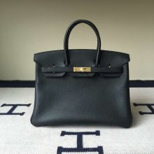 Hermes Classic Handbag Togo Calf  Leather Birkin35cm in CK89 Black