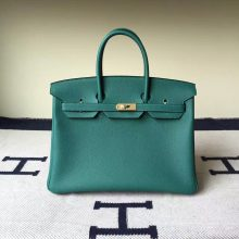 Sale Hermes Z6 Malachite Green Togo Calf Leather Birkin35cm Bag