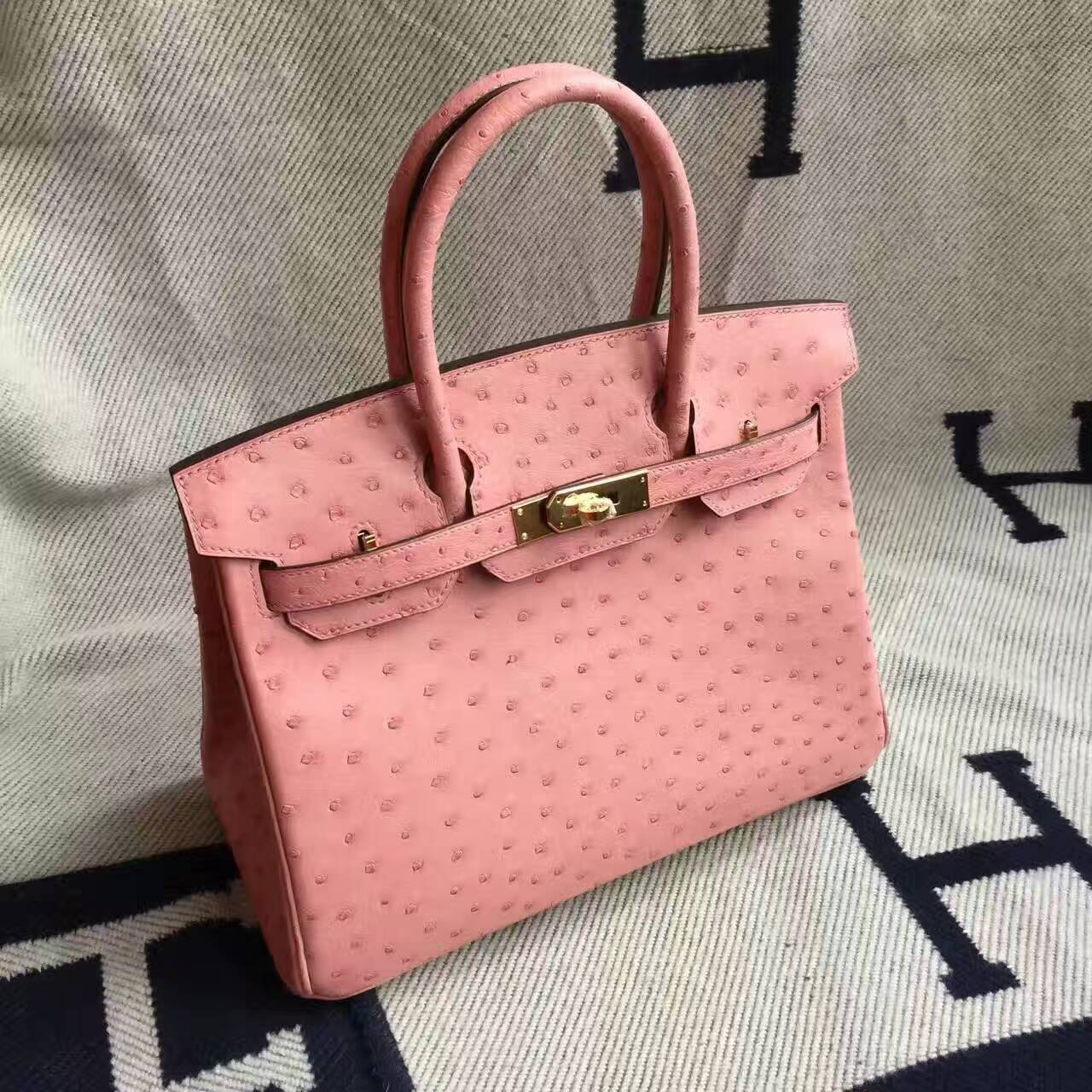 62fb359571eb Hot Sale Hermes KK Ostrich Leather Birkin Bag 30cm in CC94 Terre Cuite