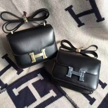 On Sale Hermes CK89 Black Box Calf Leather Constance Bag 18/19cm