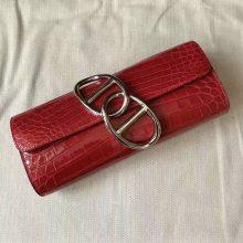 Wholesale Hermes CK95 Braise Crocodile Shiny Leather Clutch Handbag