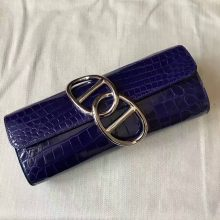 Sale Hermes Crocodile Shiny Leather Clutch Bag in 7T Blue Electric