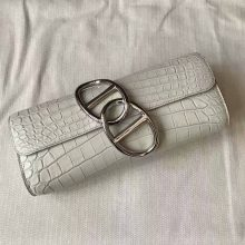 New Arrival Hermes Clutch Bag in 8L Beton Crocodile Shiny Leather