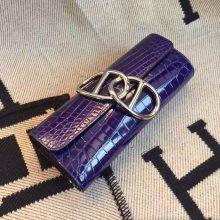Sale Hermes 7T Blue Electric Crocodile Shiny Leather Clutch Bag