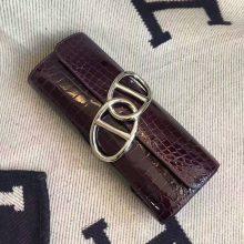 Hand Stitching Hermes Clutch Bag in 9G Amethyst Crocodile Shiny Leather