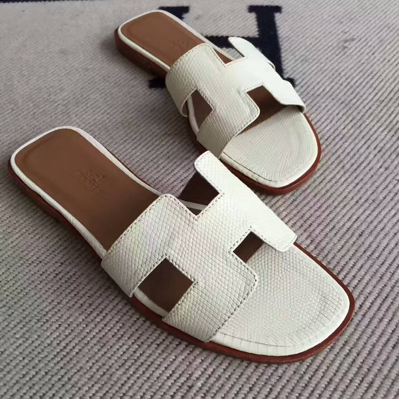 Noble Hermes White Lizard Skin Sandals Shoes Size 35 42