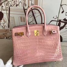 New Pretty Hermes Birkin Bag 30cm in 5Z Rose Indienne Crocodile Shiny Leather