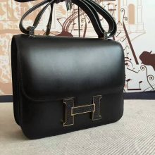 On Sale Hermes Box Calf Leather Black Constance Bag 24cm Shoulder Bag