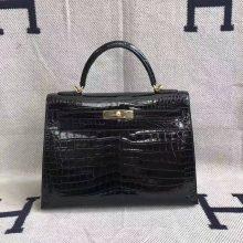 Wholesale Hermes CK89 Black Crocodile Shiny Leather Kelly 32cm Handbag