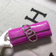 Hermes Hot Pink Crocodile Shiny Leather Egee Clutch Bag Evening Bag