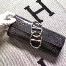 On Sale Hermes Dark Grey Crocodile Leather Clutch Bag Evening Bag