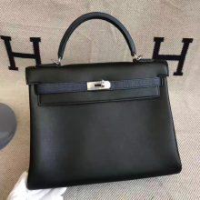New Arrival Hermes Black Swift & Duck Blue Togo Leather Kelly Bag32CM