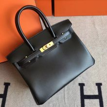 Fashion Hermes Black Box Leather Birkin Bag30cm Gold Hardware