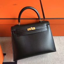 Luxury Hermes CK89 Black Box Calfskin Kelly Bag28cm Gold Hardware