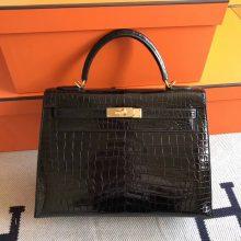 Noble Hermes CK89 Black Crocodile Shiny Kelly Bag32cm Gold Hardware